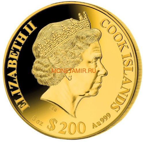 Острова Кука 200 долларов 2021 Год Быка Лунный Календарь Перламутр (Cook Isl 2021 200$ Year of the Ox Mother of Pearl 5Oz Gold Coin Proof).Арт.65 (фото, вид 1)