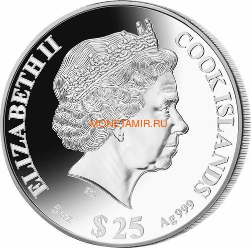 Острова Кука 25 долларов 2021 Год Быка Лунный Календарь Перламутр (Cook Isl 25$ 2021 Year of the Ox Mother of Pearl 5 Oz Silver Coin).Арт.65 (фото, вид 1)