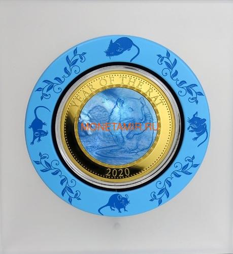 Острова Кука 200 долларов 2020 Год Крысы Лунный Календарь Перламутр (Cook Isl 2020 200$ Year of the Rat Mother of Pearl 5Oz Gold Coin Proof).Арт.92 (фото, вид 2)