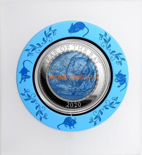 Острова Кука 25 долларов 2020 Год Крысы Лунный Календарь Перламутр (Cook Isl 25$ 2020 Year of the Rat Mother of Pearl 5 Oz Silver Coin).Арт.67 (фото, вид 2)