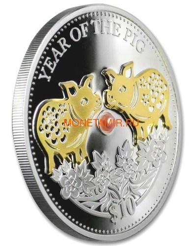 Фиджи 10 долларов 2019 Год Свиньи Лунный календарь Жемчужина (Fiji 10$ 2019 Lunar Pig Pearl).Арт.60 (фото, вид 1)