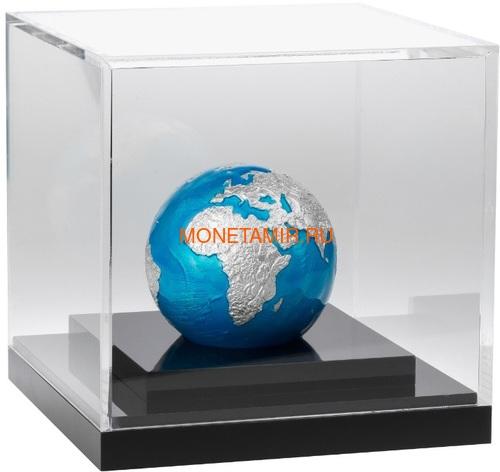Барбадос 5 долларов 2020 Голубой Мрамор Планета Земля Космос Шар (Barbados 5$ 2020 Blue Marble Planet Earth 3oz Silver Coin Spherical).Арт.94 (фото, вид 2)