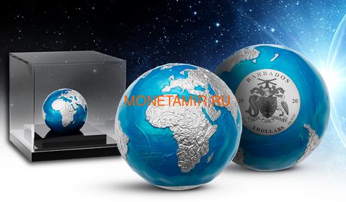 Барбадос 5 долларов 2020 Голубой Мрамор Планета Земля Космос Шар (Barbados 5$ 2020 Blue Marble Planet Earth 3oz Silver Coin Spherical).Арт.65 (фото, вид 3)