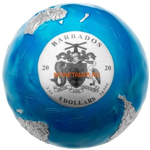 Барбадос 5 долларов 2020 Голубой Мрамор Планета Земля Космос Шар (Barbados 5$ 2020 Blue Marble Planet Earth 3oz Silver Coin Spherical).Арт.94 (фото, вид 1)