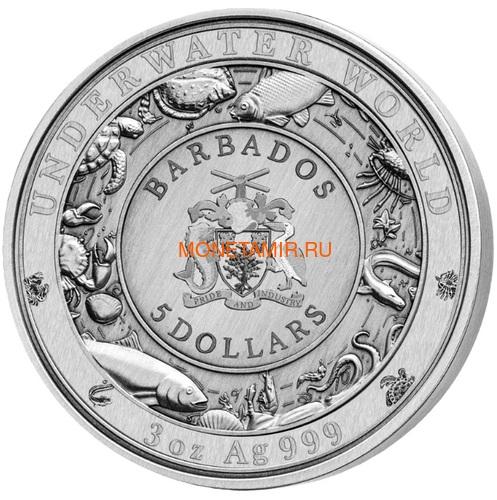 Барбадос 5 долларов 2020 Синий Кит Подводный Мир (Barbados 5$ 2020 Blue Whale Underwater World 3oz Silver).Арт.Е85 (фото, вид 2)