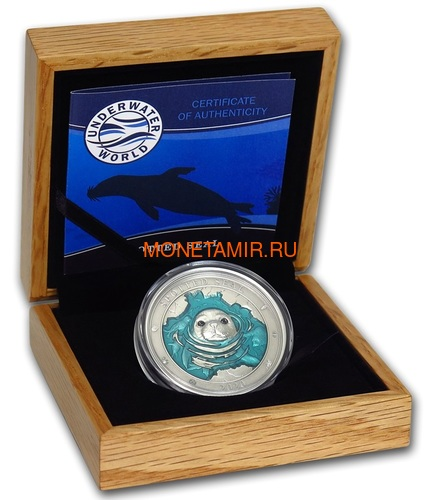Барбадос 5 долларов 2020 Пятнистый Тюлень Подводный Мир (Barbados 5$ 2020 Spotted Seal Underwater World 3oz Silver).Арт.65 (фото, вид 3)
