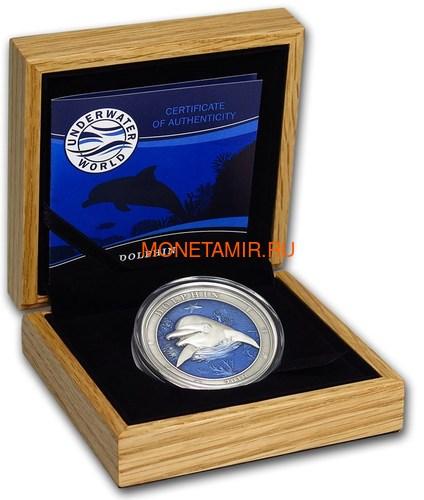 Барбадос 5 долларов 2019 Дельфин Подводный Мир (Barbados 5$ 2019 Dolphin Underwater World 3oz Silver).Арт.69 (фото, вид 3)