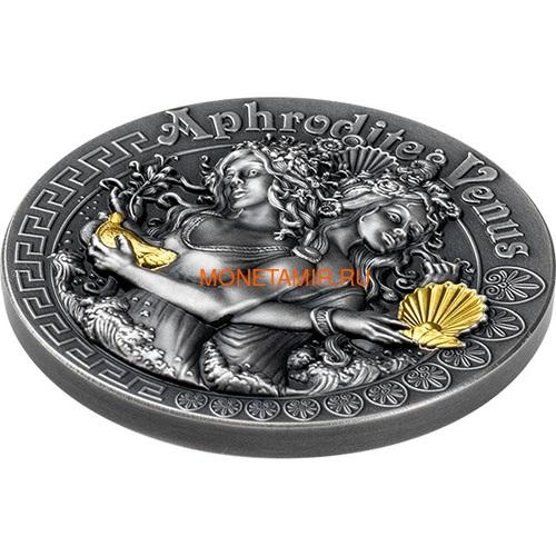 Ниуэ 5 долларов 2020 Афродита и Венера Богини (Niue 2020 5$ Aphrodite and Venus Goddesses 2oz Antique Finish Silver Coin).Арт.65 (фото, вид 1)