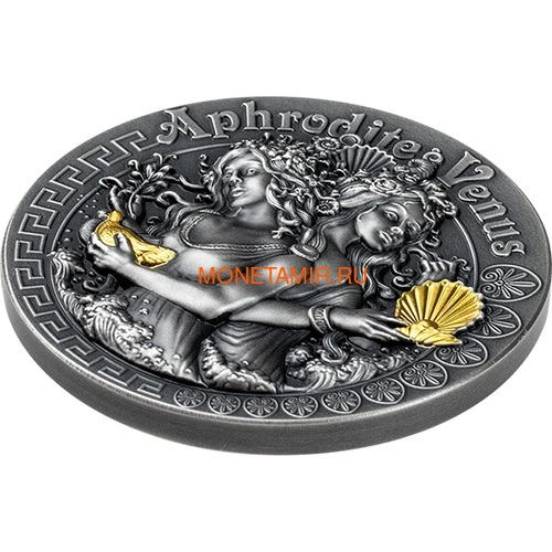 Ниуэ 5 долларов 2020 Афродита и Венера Богини (Niue 2020 5$ Aphrodite and Venus Goddesses 2oz Antique Finish Silver Coin).Арт.65 (фото, вид 1)