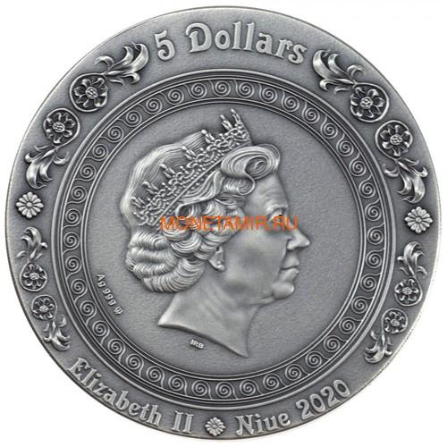 Ниуэ 5 долларов 2020 Афродита и Венера Богини (Niue 2020 5$ Aphrodite and Venus Goddesses 2oz Antique Finish Silver Coin).Арт.65 (фото, вид 2)