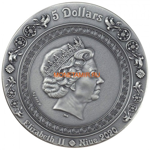 Ниуэ 5 долларов 2020 Афродита и Венера Богини (Niue 2020 5$ Aphrodite and Venus Goddesses 2oz Antique Finish Silver Coin).Арт.65 (фото, вид 2)
