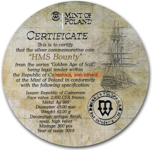 Камерун 2000 франков 2019 Корабль Баунти Кристиан Флетчер серия Золотой Век Мореплавания (Cameroon 2000 Francs 2019 HMS Bounty Golden Age of Sail 2 oz Silver Coins).Арт.Е85 (фото, вид 5)