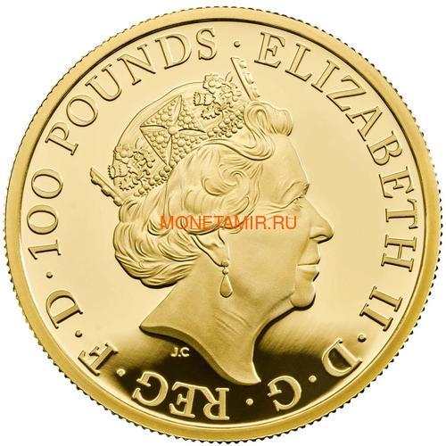 Великобритания 100 фунтов 2020 Белая Ганноверская Лошадь серия Звери Королевы (GB 100£ 2020 Queen's Beast White Horse of Hanover Gold Coin).Арт.65 (фото, вид 1)