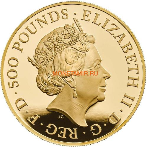 Великобритания 500 фунтов 2020 Белая Ганноверская Лошадь серия Звери Королевы (GB 500£ 2020 Queen's Beast White Horse of Hanover Gold Coin).Арт.65 (фото, вид 1)