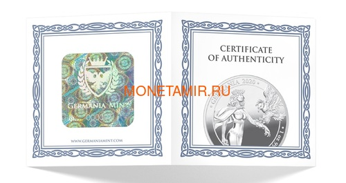 Германия 5 марок 2020 Германия Орел (Germania 5 Mark 2020 Gemania 1oz Silver Coin).Арт.75 (фото, вид 2)
