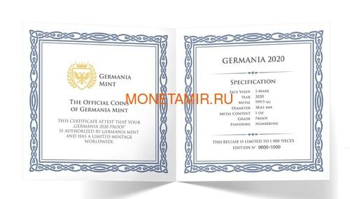 Германия 5 марок 2020 Германия Орел (Germania 5 Mark 2020 Gemania 1oz Silver Coin).Арт.75 (фото, вид 3)