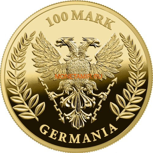 Германия 100 марок 2020 Германия Орел (Germania 100 Mark 2020 Gemania 1oz Gold Coin Proof).Арт.27022021001500E/75 (фото, вид 1)