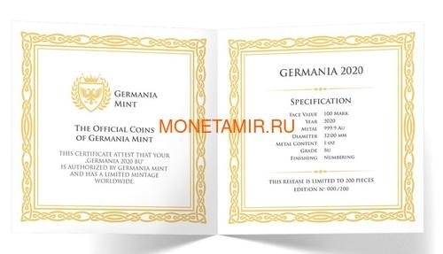 Германия 100 марок 2020 Германия Орел (Germania 100 Mark 2020 Gemania 1oz Gold Coin BU).Арт.27022019001500E/75 (фото, вид 4)