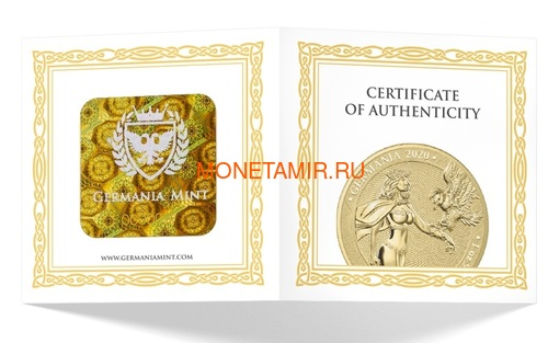 Германия 100 марок 2020 Германия Орел (Germania 100 Mark 2020 Gemania 1oz Gold Coin BU).Арт.27022019001500E/75 (фото, вид 3)