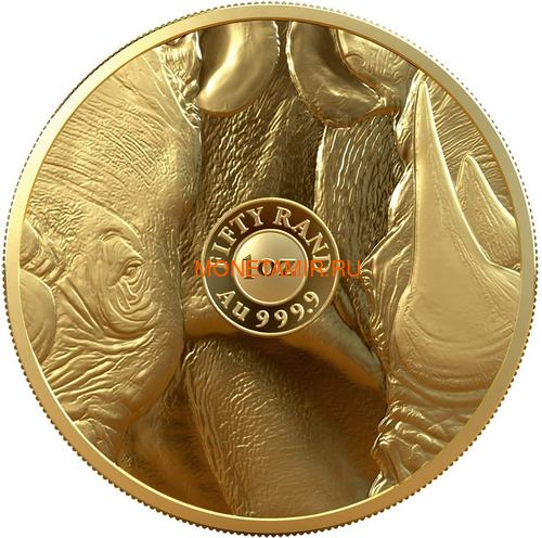 Южная Африка 50 рандов 2020 Носорог Большая Африканская Пятерка (South Africa 50 Rand 2020 Rhino Big Five 1oz Gold Coin).Арт.75 (фото, вид 1)