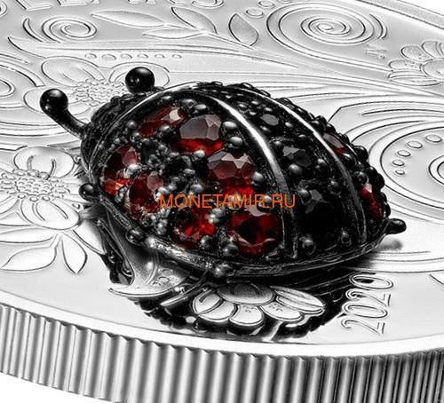 Канада 20 долларов 2020 Божья Коровка серия Насекомые из Драгоценных Камней (Canada 20$ 2020 Ladybug Bejeweled Bugs Silver Coin).Арт.Е85 (фото, вид 1)