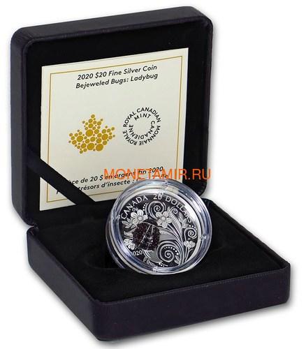 Канада 20 долларов 2020 Божья Коровка серия Насекомые из Драгоценных Камней (Canada 20$ 2020 Ladybug Bejeweled Bugs Silver Coin).Арт.Е85 (фото, вид 4)