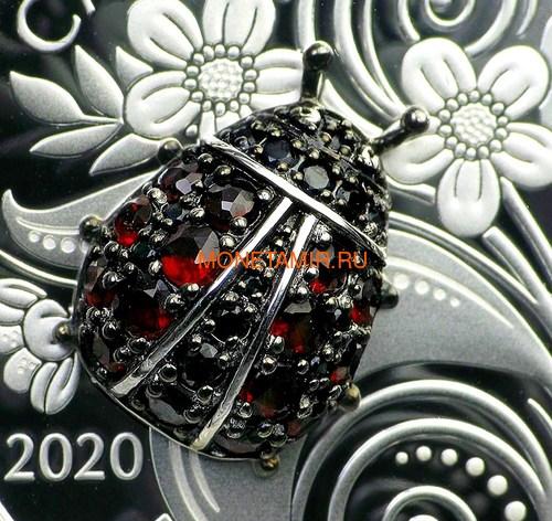 Канада 20 долларов 2020 Божья Коровка серия Насекомые из Драгоценных Камней (Canada 20$ 2020 Ladybug Bejeweled Bugs Silver Coin).Арт.Е85 (фото, вид 2)