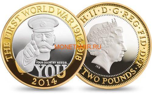 Великобритания 2 фунта 2014 100 лет Первой Мировой Войне Герберт Китченер (UK £2 2014 First World War Outbreak Kitchener Silver Proof Coin).Арт.000244248558\60 (фото, вид 1)
