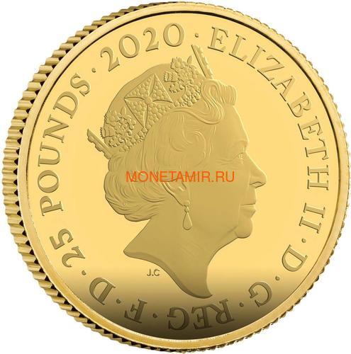 Великобритания 25 фунтов 2020 Джеймс Бонд (GB 25£ 2020 James Bond Gold Proof Coin).Арт.65 (фото, вид 1)