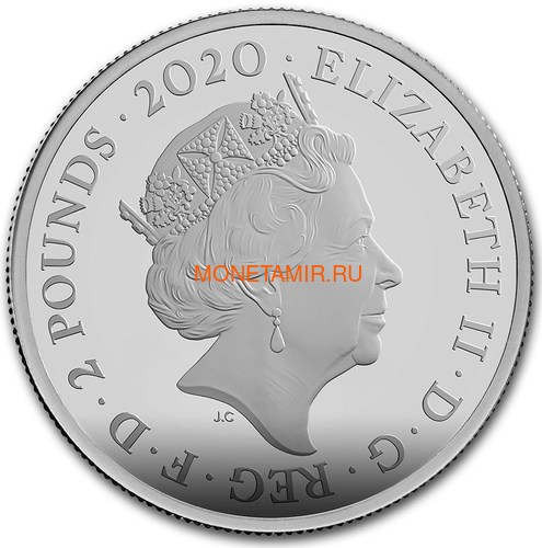 Великобритания 2 фунта 2020 Джеймс Бонд (GB 2£ 2020 James Bond 1oz Silver Proof Coin).Арт.65 (фото, вид 2)