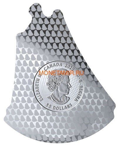 Канада 50 долларов 2020 Шхуна Блюноуз Реальная Форма (Canada 50$ 2020 Bluenose Real Shapes Silver Coin).Арт.88 (фото, вид 2)