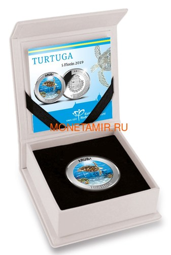 Аруба 5 флоринов 2019 Черепаха Тортуга (Aruba 5 Florin 2019 Turtuga Silver Coin).Арт.88 (фото, вид 2)
