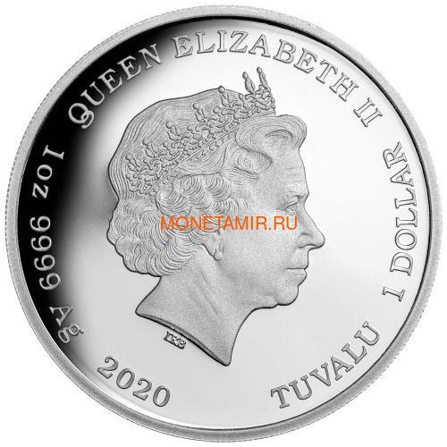 Тувалу 1 доллар 2020 Тарантул Паук серия Смертельно Опасные (Tuvalu 1$ 2020 Deadly Dangerous Tarantula 1oz Silver Coin).Арт.88 (фото, вид 1)