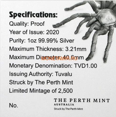 Тувалу 1 доллар 2020 Тарантул Паук серия Смертельно Опасные (Tuvalu 1$ 2020 Deadly and Dangerous Tarantula 1oz Silver Coin).Арт.92 (фото, вид 7)