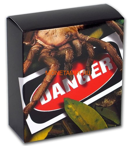 Тувалу 1 доллар 2020 Тарантул Паук серия Смертельно Опасные (Tuvalu 1$ 2020 Deadly Dangerous Tarantula 1oz Silver Coin).Арт.88 (фото, вид 4)