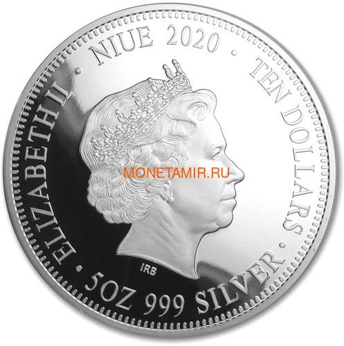 Ниуэ 10 долларов 2020 Красноспинный Паук Всемирная Денежная Ярмарка (Niue 2020 $10 Deadly & Dangerous Red-Back Spider 5oz Silver Proof Coin World Money Fair).Арт.88 (фото, вид 2)