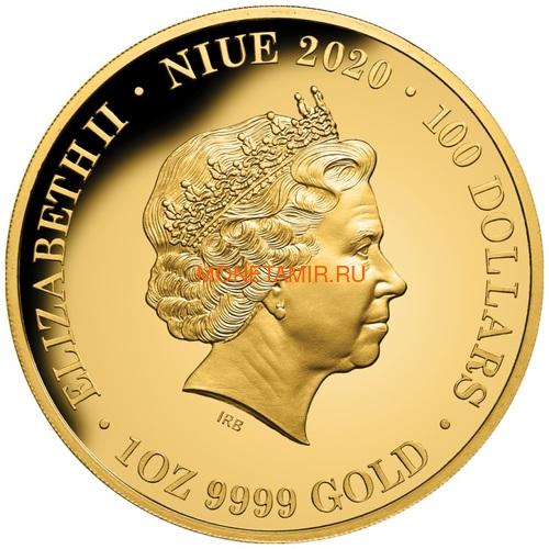 Ниуэ 100 долларов 2020 Тарантул Паук серия Смертельно Опасные (Niue 2020 $100 Tarantula Deadly & Dangerous 1oz Gold Proof Coin)Арт.88 (фото, вид 2)
