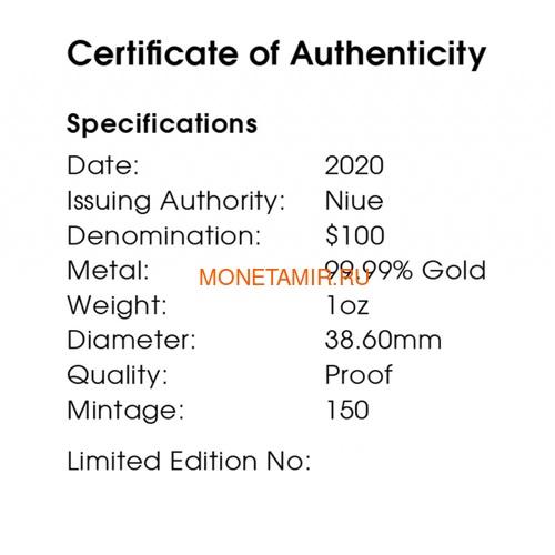 Ниуэ 100 долларов 2020 Тарантул Паук серия Смертельно Опасные (Niue 2020 $100 Tarantula Deadly & Dangerous 1oz Gold Proof Coin)Арт.88 (фото, вид 4)