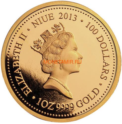 Ниуэ 100 долларов 2013 Тасманийский Дьявол Исчезающие Виды (Niue $100 2013 Tasmanian Devil Endangered 1oz Gold Proof Coin).Арт.4000Е/88 (фото, вид 1)