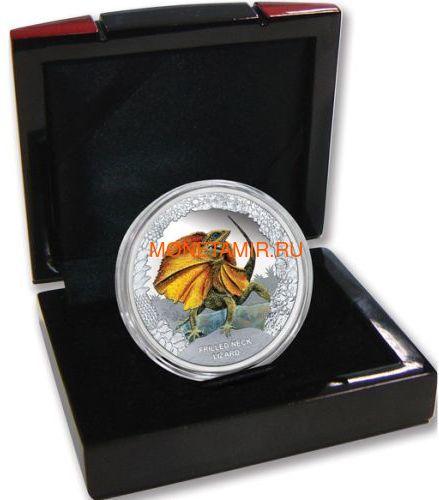 Тувалу 1 доллар 2013 Плащеносная Ящерица Замечательные Рептилии (Tuvalu $1 2013 Frilled Neck Lizard Remarkable Reptiles 1oz Silver Proof Coin).Арт.000302043253/60 (фото, вид 2)
