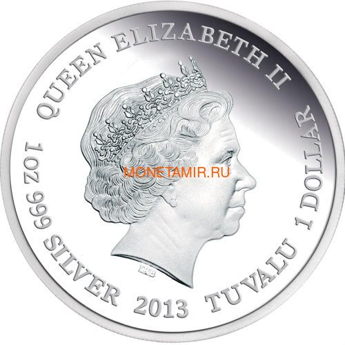 Тувалу 1 доллар 2013 Плащеносная Ящерица Замечательные Рептилии (Tuvalu $1 2013 Frilled Neck Lizard Remarkable Reptiles 1oz Silver Proof Coin).Арт.000302043253/60 (фото, вид 1)