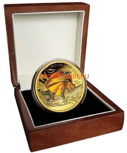 Ниуэ 100 долларов 2014 Плащеносная Ящерица Замечательные Рептилии (Niue $100 2014 Frilled Neck Lizard Remarkable Reptiles 1oz Gold Proof Coin).Арт.85 (фото, вид 3)