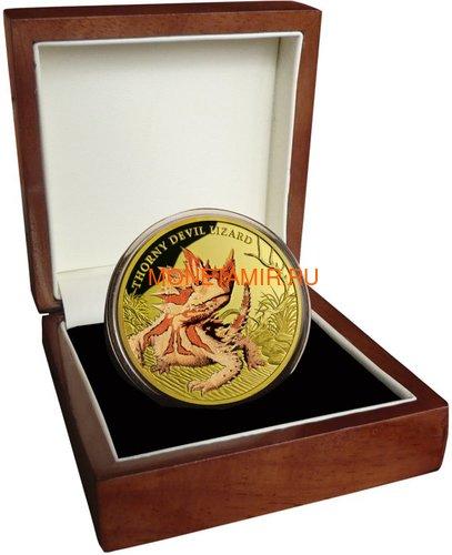 Ниуэ 100 долларов 2015 Ящерица Колючий Дьявол Замечательные Рептилии (Niue $100 2015 Thorny Devil Lizard Remarkable Reptiles 1oz Gold Proof Coin).Арт.85 (фото, вид 3)