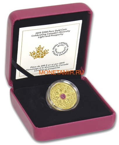 Канада 200 долларов 2019 Мадагаскарский Рубин Свет и Процветание (Canada 200$ 2019 Ruby Celebrating Canada's Diversity Light and Prosperity 1 oz Gold Coin).Арт.85 (фото, вид 3)