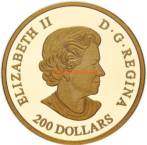 Канада 200 долларов 2020 Роза Королева Елизавета (Canada 200$ 2020 The Queen Elizabeth Rose 1 oz Gold Coin).Арт.85 (фото, вид 2)