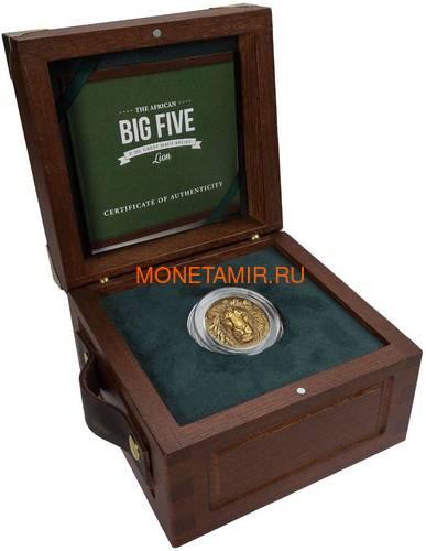Берег Слоновой Кости Кот-д'Ивуар 100 франков 2020 Лев Большая Африканская Пятерка (Ivory Coast 100FCFA 2020 Greef Lion Big Five 1oz Gold Coin).Арт.82 (фото, вид 3)