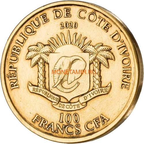 Берег Слоновой Кости Кот-д'Ивуар 100 франков 2020 Лев Большая Африканская Пятерка (Ivory Coast 100FCFA 2020 Greef Lion Big Five 1oz Gold Coin).Арт.82 (фото, вид 1)