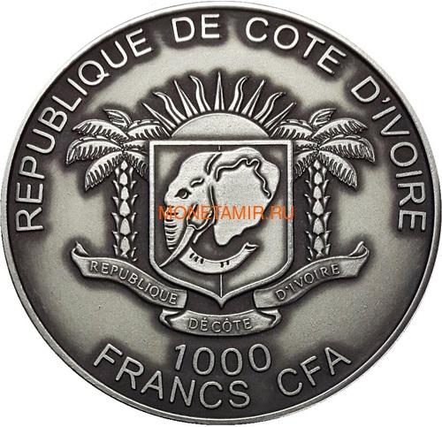 Берег Слоновой Кости Кот-д'Ивуар 1000 франков 2013 Черная Пантера (Cote D`Ivoire Ivory Coast 1000FCFA 2013 Black Panther 1oz Silver Coin Antique).Арт.000297247369 (фото, вид 1)