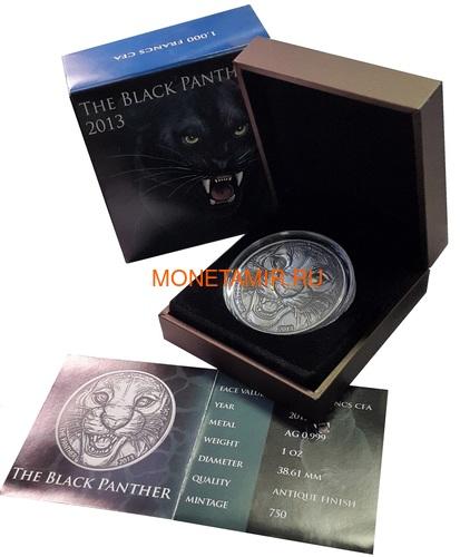 Берег Слоновой Кости Кот-д'Ивуар 1000 франков 2013 Черная Пантера (Cote D`Ivoire Ivory Coast 1000FCFA 2013 Black Panther 1oz Silver Coin Antique).Арт.000297247369 (фото, вид 2)