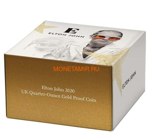 Великобритания 25 фунтов 2020 Элтон Джон Легенды Музыки (GB 25£ 2020 Elton John Music Legends Quarter-Ounce Gold Proof Coin).Арт.82 (фото, вид 4)